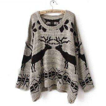 Amazon.com: Ideasuke Women's Grey Batwing Long Sleeve Deer Print sweater: Clothing