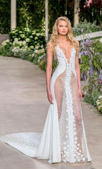 dress wedding dress wedding romee strijd see through see through dress lace dress lace gown romantic dress