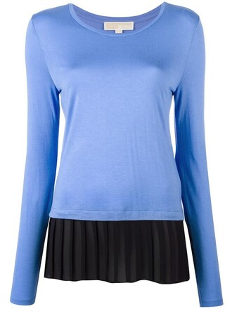 t-shirt shirt pleated women blue top