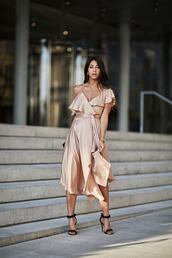 dress,slip dress,tumblr,silk slip dress,sandals,sandal heels,black sandals,midi dress,ruffle,ruffle dress,shoes