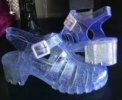 shoes,jellies,80s style,vintage,glitter,aesthetic
