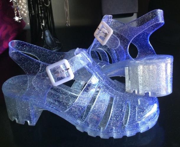 57eaeda04f9 shoes jellies 80s style vintage glitter aesthetic