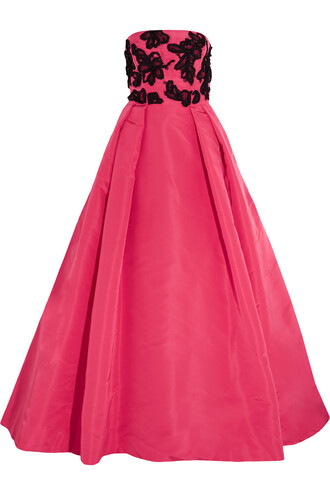 gown embellished silk pink dress