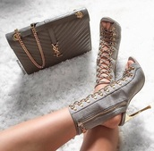 shoes,grey heels,peep toe heels,lace up heels,lace up boots
