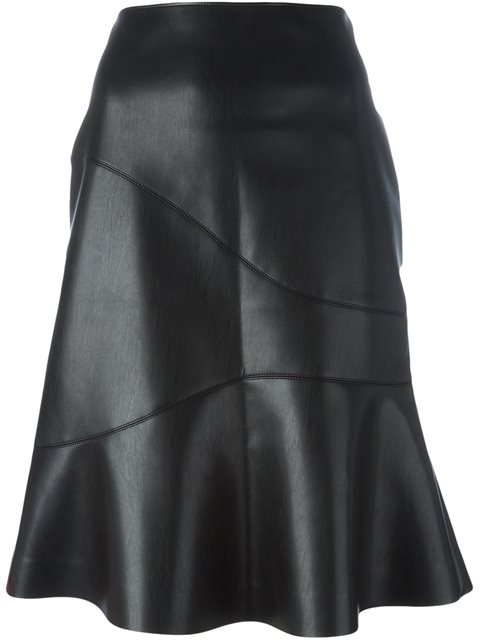 Cédric Charlier Flared Faux Leather Skirt - Chin's - Farfetch.com