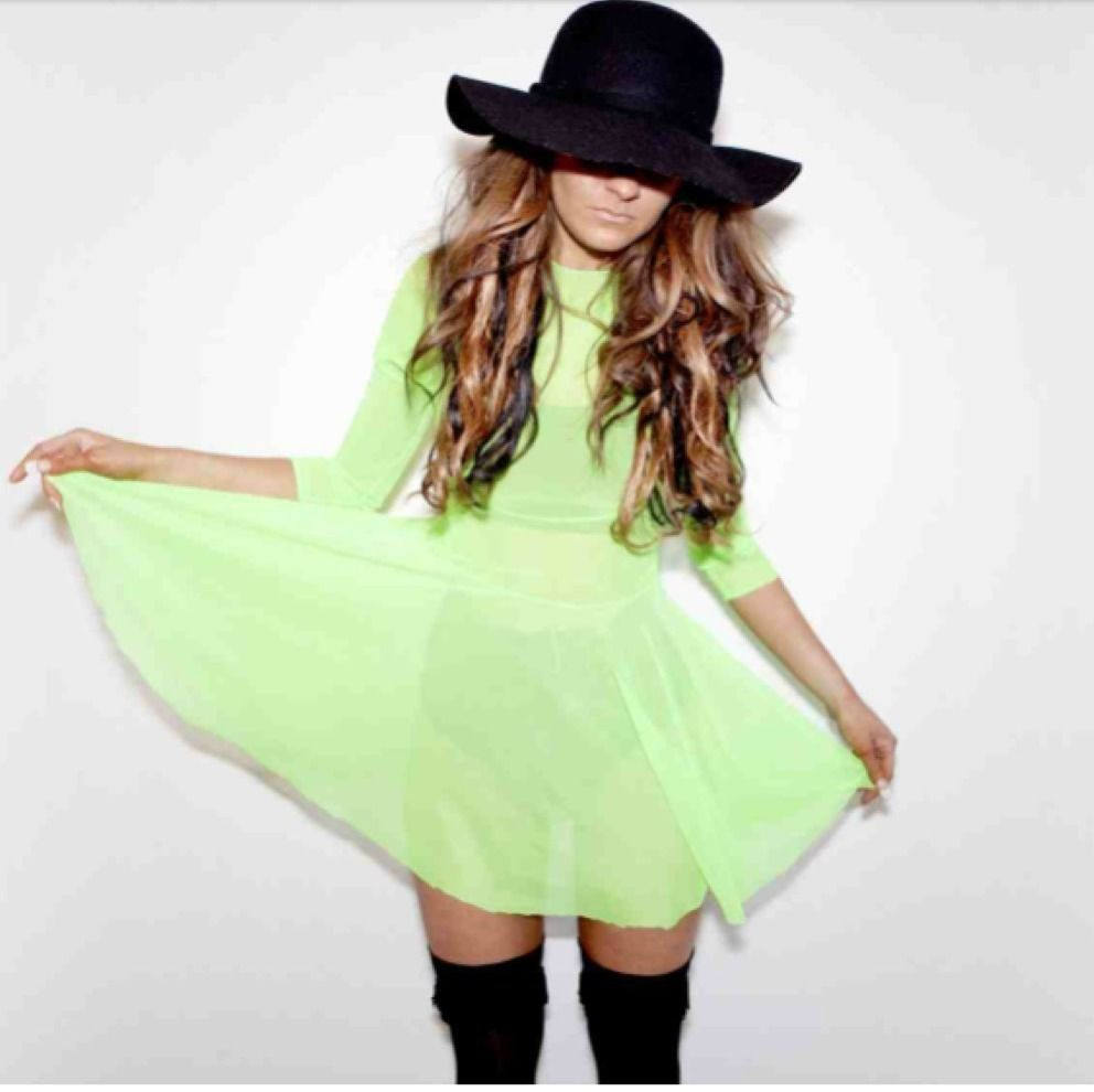 BNWOT Unique Stay Sick 'See Through Me' Green Mesh Skater Dress Neon | eBay