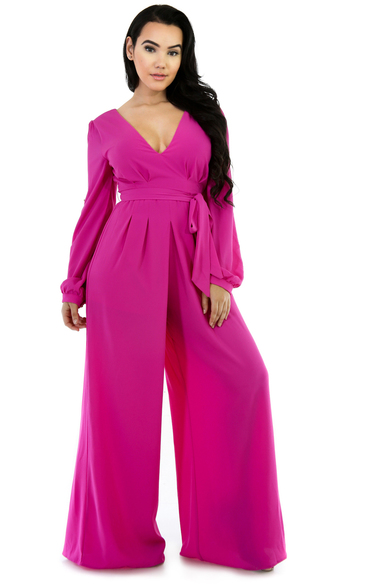 Flare Long-Sleeve Non-Stretch Jumpsuit Magenta