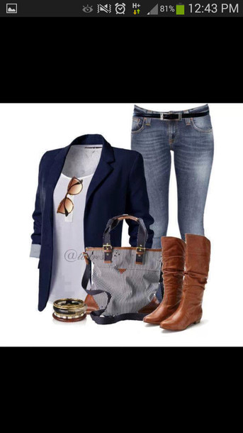 bag jacket top sunglasses jeans bracelets boots shoes