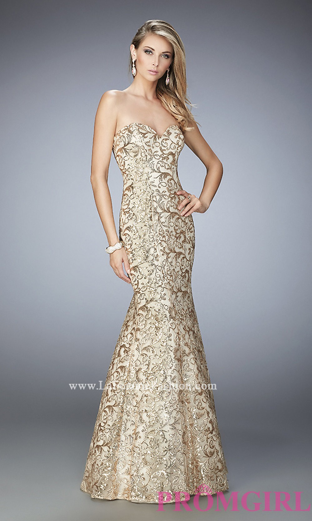 f6b1888df33 Gold Long Lace Strapless Prom Dress by La Femme - Discount ...