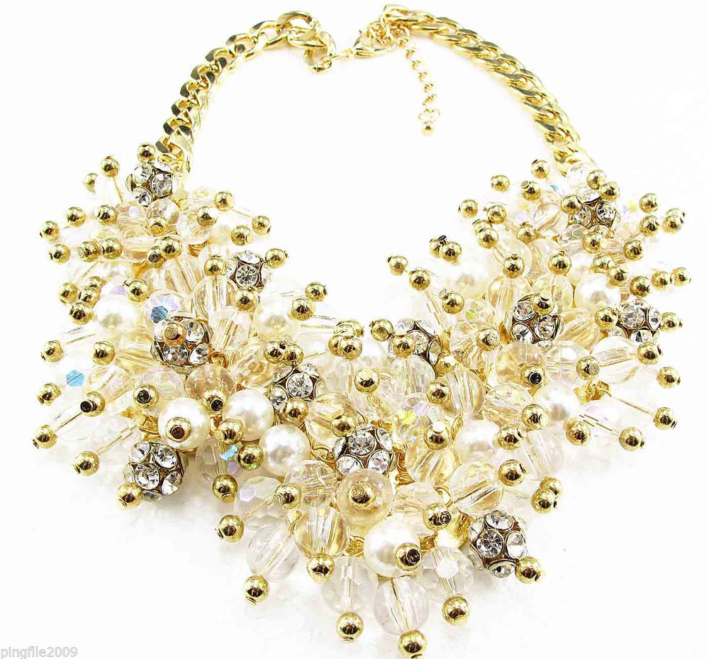 New Fashion Luxury Rhinestone Crystal Bib Statement Neon Chunky Necklace Q676 | eBay