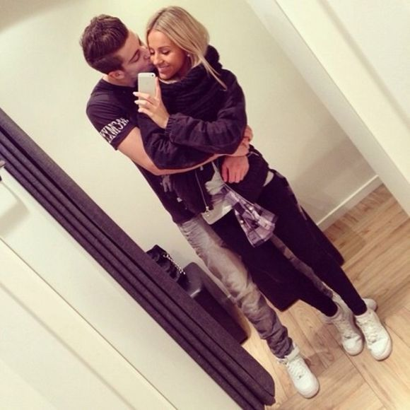 boy jacket blonde couple cute blonde hair white shoes scarf girl coat black coat
