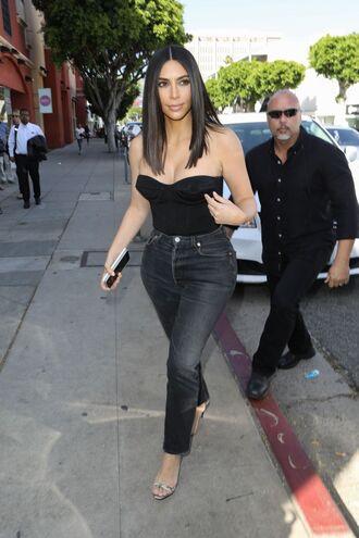jeans bustier kim kardashian kardashians sandals