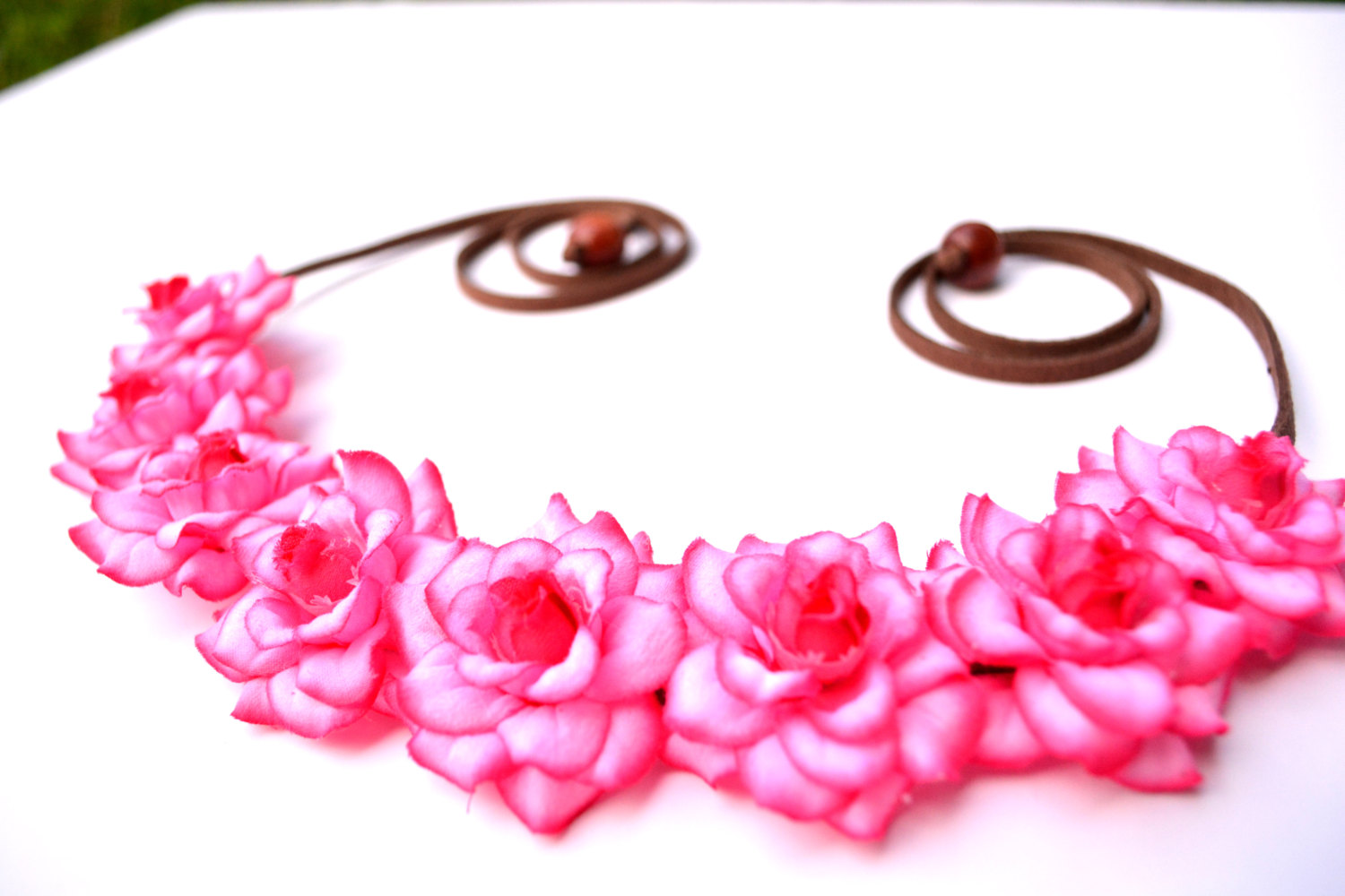 Hot Pink Edge Flower Headband Floral Halo Flower Crown Pink