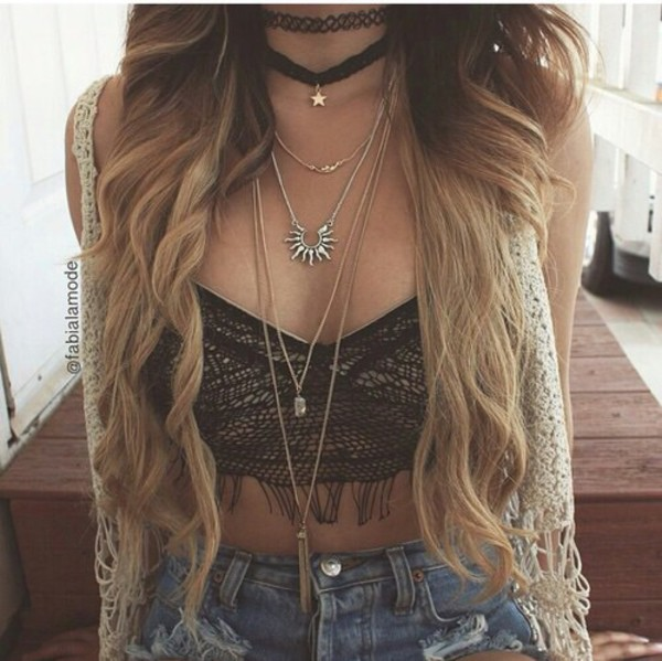 jewels necklace chain sun choker necklace boho bohemian grunge jewelry hipster indie top cardigan layered choker necklace black choker boho chic boho jewelry boho choker black necklace gold star necklace aztec style necklace rock hippie vintage ootd short bralette crop tops fashion