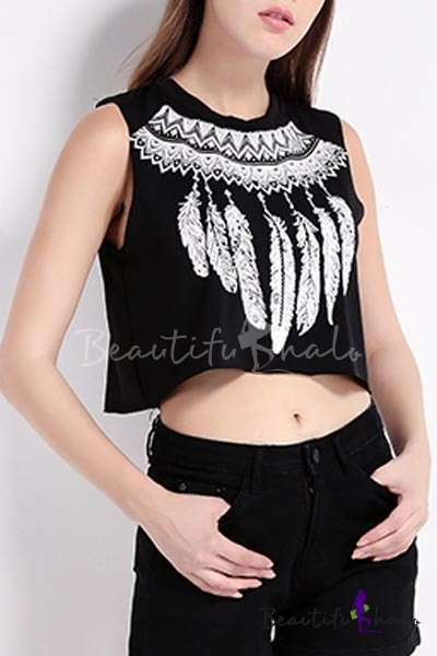 Special Round Neck Sleeveless Cool Pattern Crop Top