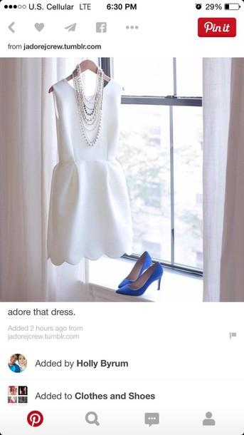 dress white scalloped dress