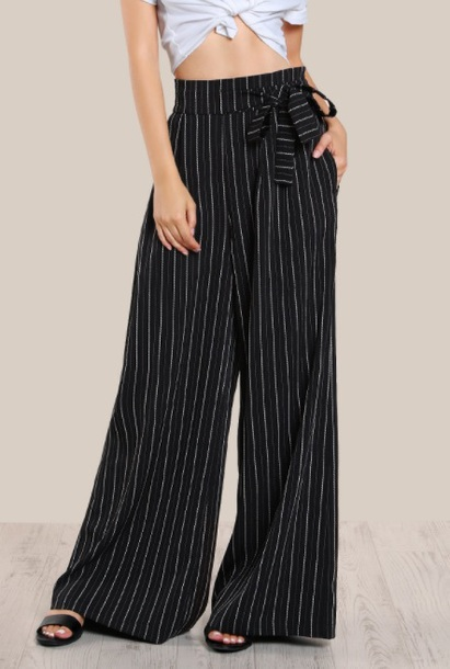 pants girly black stripes high waisted black pants black high waisted pants wide-leg pants