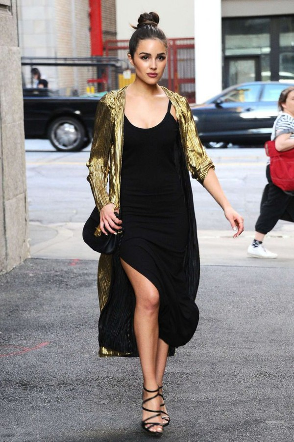 dress black dress midi dress sandals jacket olivia culpo