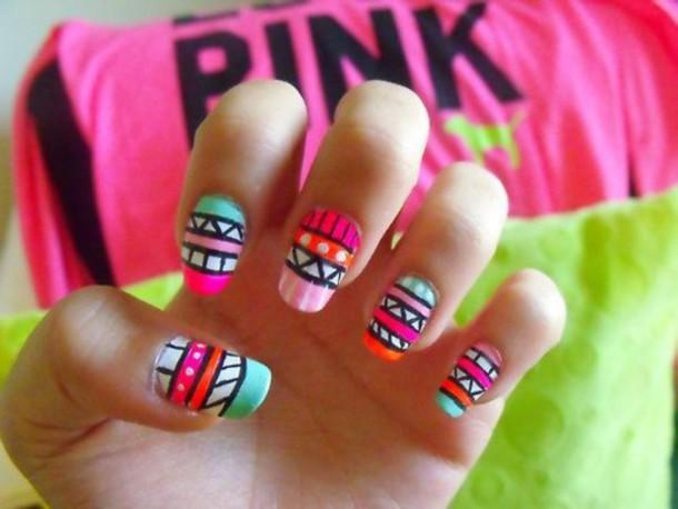 Nail polish: aztec, nail art, neon, white, black, pink, green ...