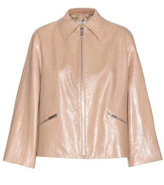 jacket leather jacket leather beige