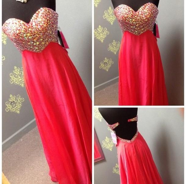 dress, pink dress, pink, prom dress, prom gown, gown, crystal ...