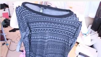 aztec sweater sweater grey and black grey and black sweater marina joyce