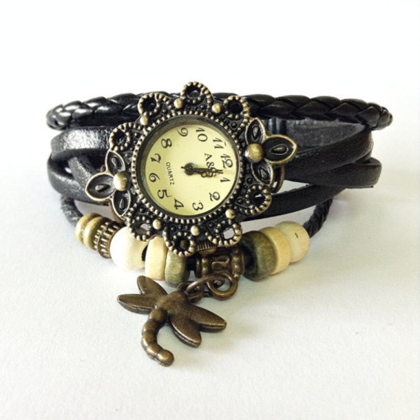 Jewels: wrap watch, leather watch, vintage style ...