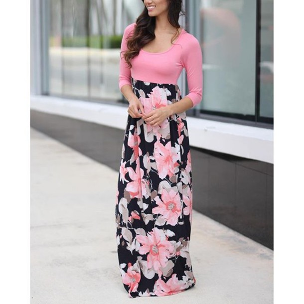 Dress: long dress, maxi dress, floral dress, 3-4 sleeve dress ...