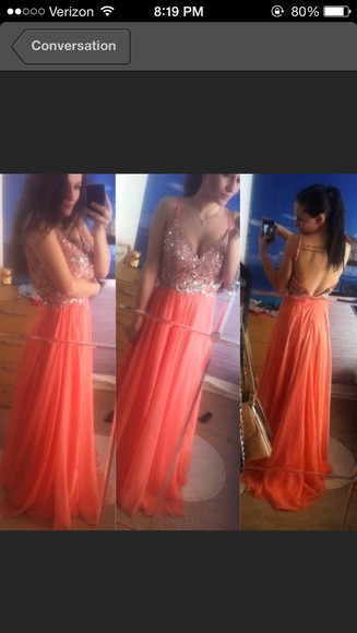 salmon prom gown evening brakes sparkles corset long chiffon