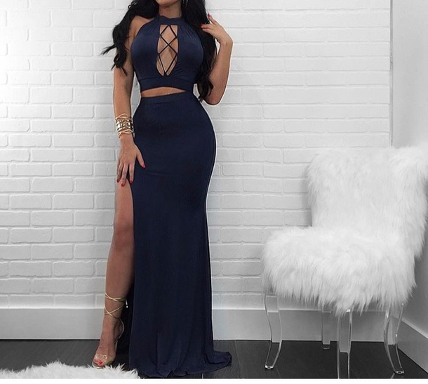 Dress Two Piece Skirt Maxi Skirt Maxi Dress Blue Blue Dress