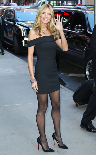 dress off the shoulder dress heidi klum little black dress pumps