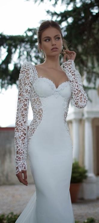 dress wedding dress lace wedding dress lace dress white dress elegant fashion married marriage robe de mari?e