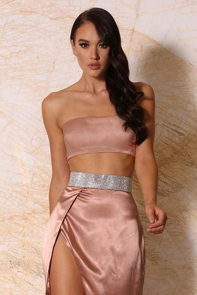 Luella Satin Thin Bandeau - Rose Gold