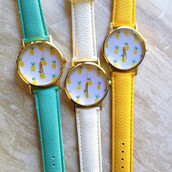 jewels,candy,fruits,pineapple print,pineapple,watch,gold,gold watch,accessories,stacked bracelets