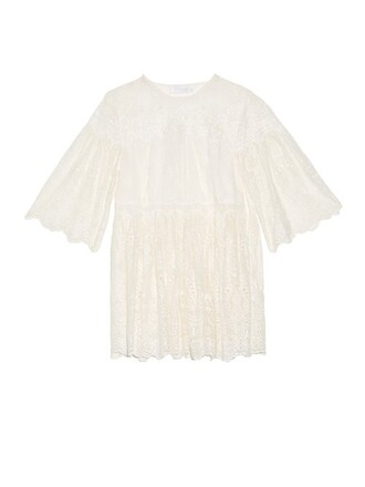 blouse embroidered cream top