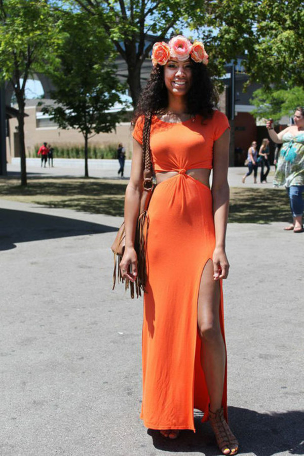 Dress: maxi dress, cut-out dress, twisted top, thigh slit, orange ...