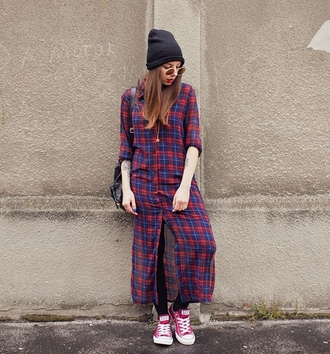 blouse plaid blue red maxi shirt top trendy style fashion grunge