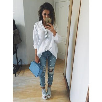 jeans girl outfit blouse white bag grey jeans
