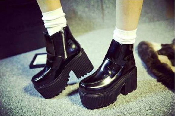 unif platform shoes zipper boots black chunky boots heel boots ankle boots leather