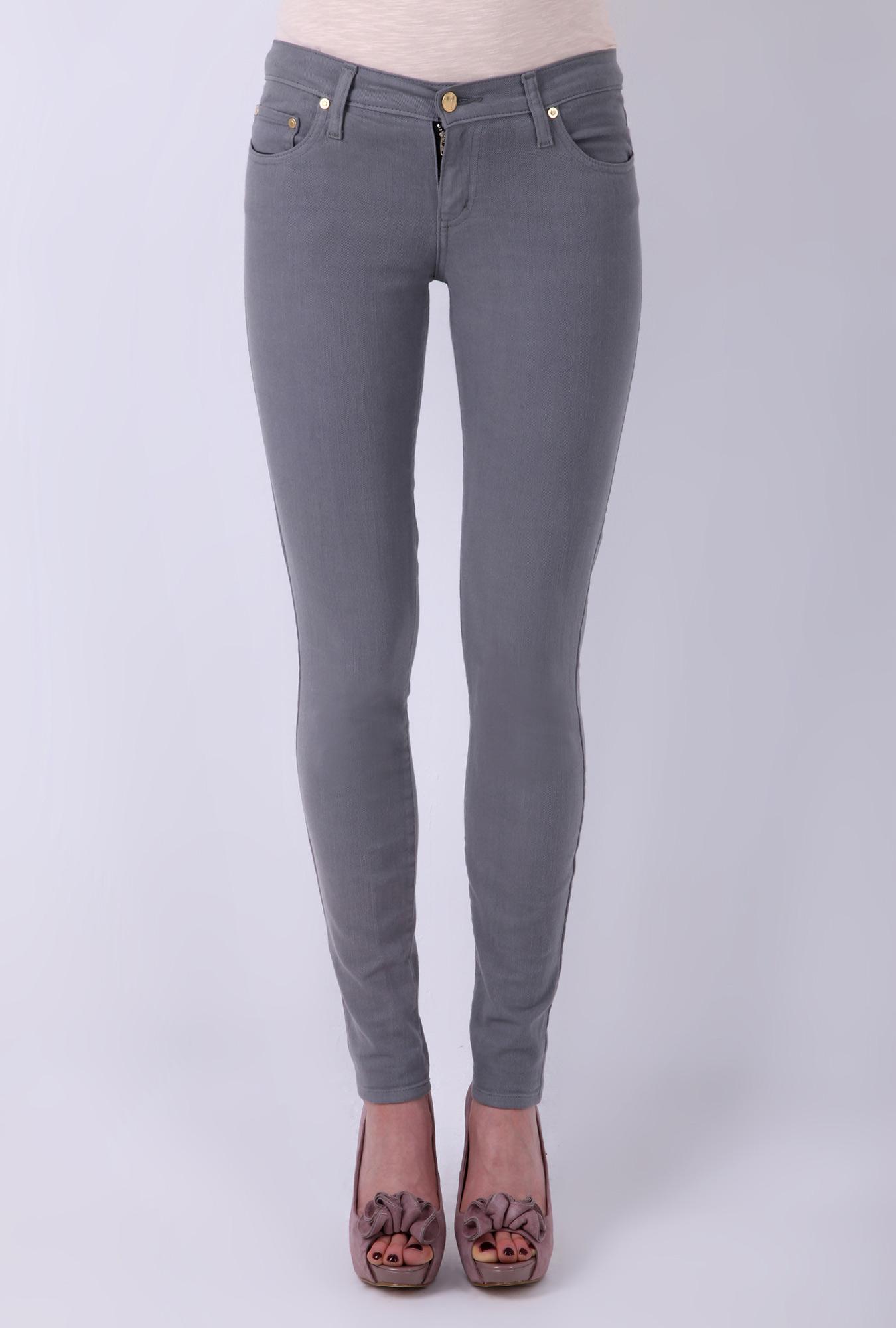 Grey mod straight slim mid rise jean by nobody denim