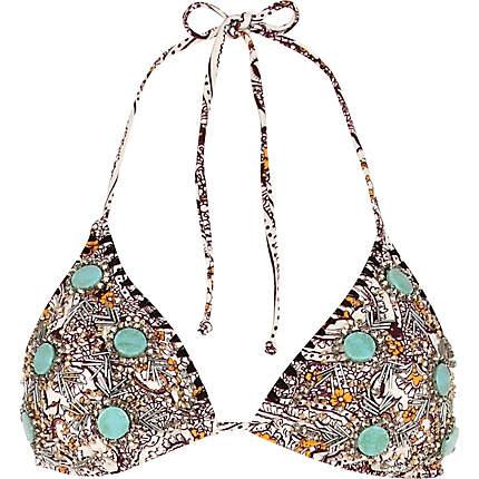 Black paisley embellished triangle bikini top