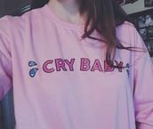 shirt,top,sweater,melanie martinez,cry baby,sweatshirt,cute,pink,music,blouse