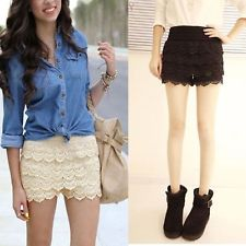 Fashion women korean sweet cute crochet tiered lace shorts short pants skirt