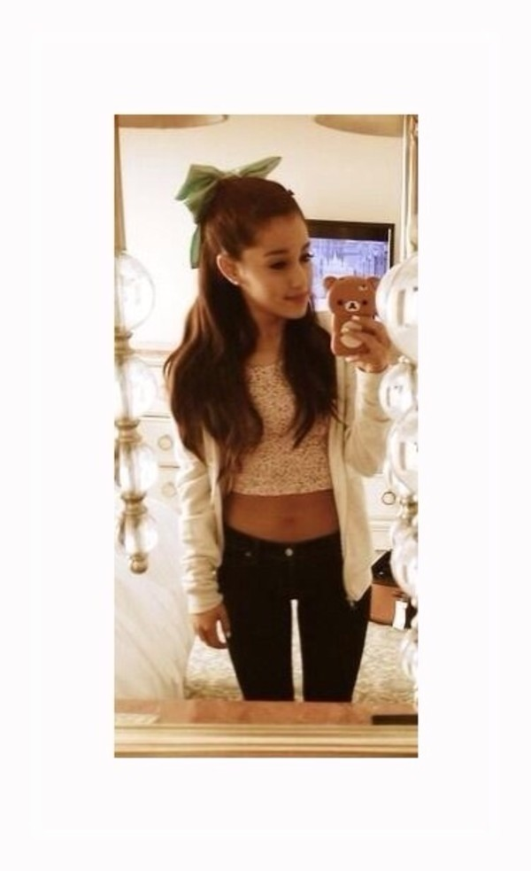 top ariana grande white crop top ariana grande butera fashion hair accessory hair bow jewels sweater jeans blouse