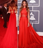 dress,wavy hair,grammys 2016,All red outfit,clothes,celebrity style,rihanna,red dress,flowy dress,long dress