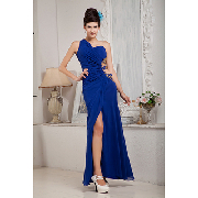 Gorgeous Navy Elegant A-line Sweetheart Chiffon Ankle-length Evening Dress_$167.99