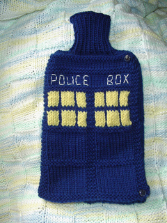 Tardis hot water bottle cozy pattern by rebecca russell