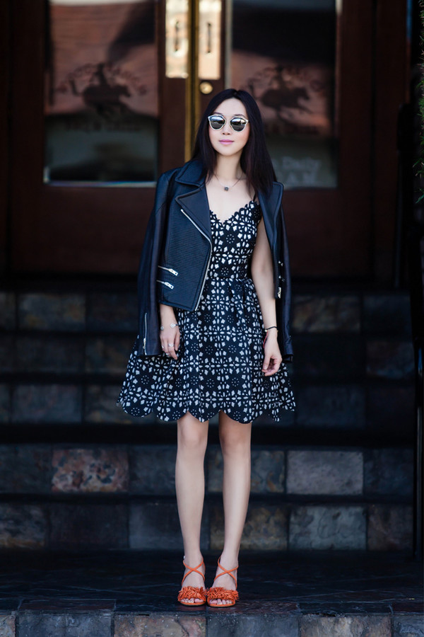 fit fab fun mom blogger sunglasses jewels mirrored sunglasses leather jacket floral black and white dress flats streetstyle nordstrom