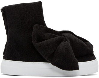 bow high sneakers black shoes