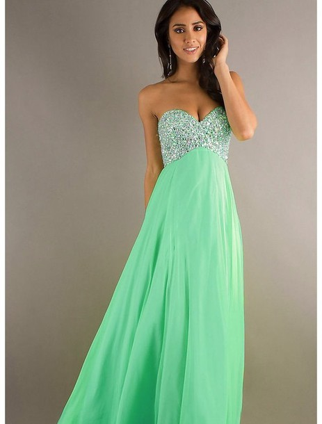 Long Strapless Turquoise Dresses